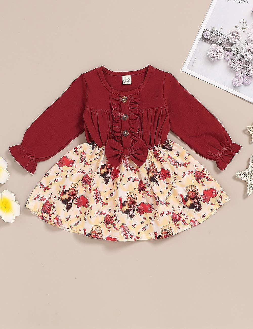 itkidboy Toddler Infant Baby Girl Ruffled Denim Long Sleeve Dress Princess Skirt Tutu Summer Clothes Outfits