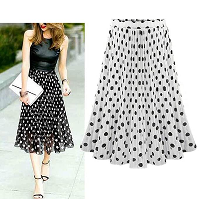 Phillip Dudley Chiffon Polka Dot Skirt Elastic Waist Pleated Skirt Beach A-Line Plus Size at Amazon Womens Clothing store: