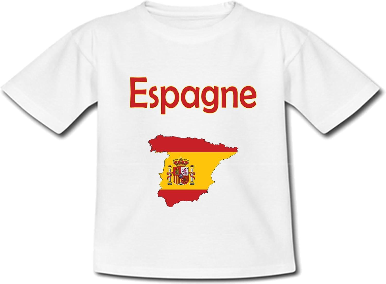 Carte Espagne avec Son Drapeau T-Shirt B/éb/é yonacrea
