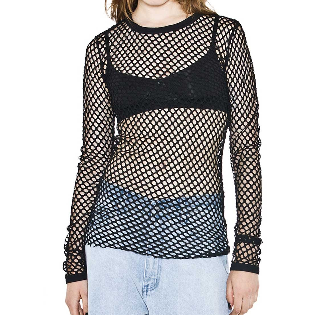 Cheapcotton Women's Black Long-Sleeved Fishnet Top