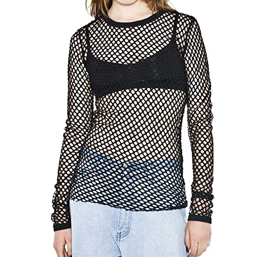 Cheapcotton Women s Black Long-sleeved Fishnet Top at Amazon Women s  Clothing store  d7c91e05a732