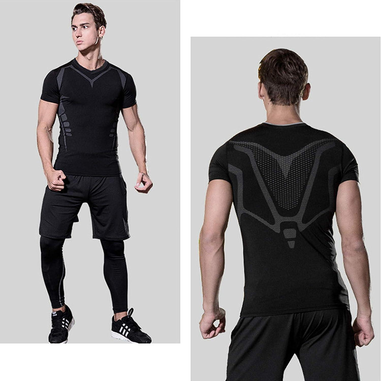 Yuntown Men Sport Clothing Set Compression Running Gym Shirt Pants Cool Dry Suit