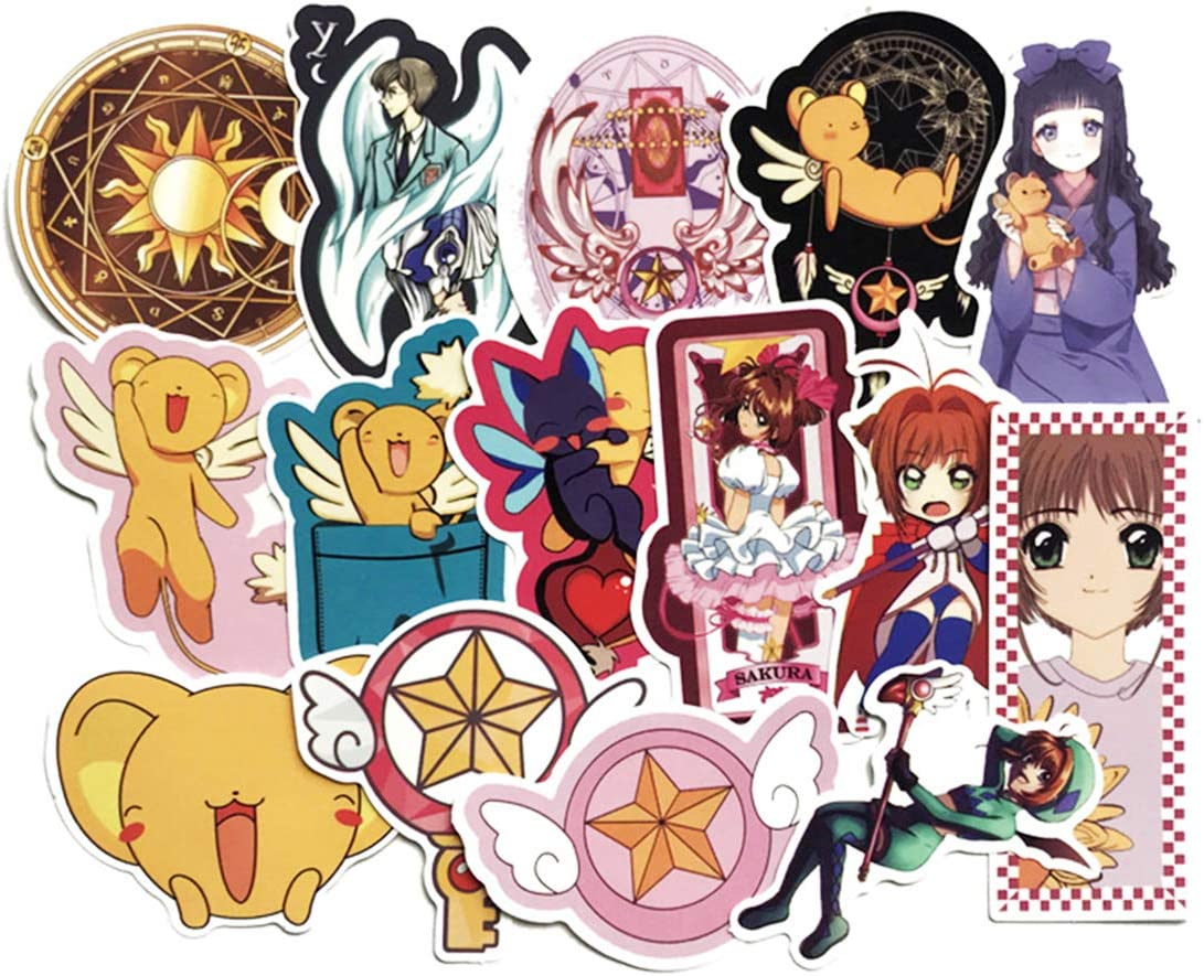 Women Girls Card Captor Sakura Card Captor Sakura Stickers 15pcs Cool Anime Decals for Laptops Water Bottles Toys and Gifts Cars Stickers Cartoon Anime Aesthetic Sticker Pack for Teens