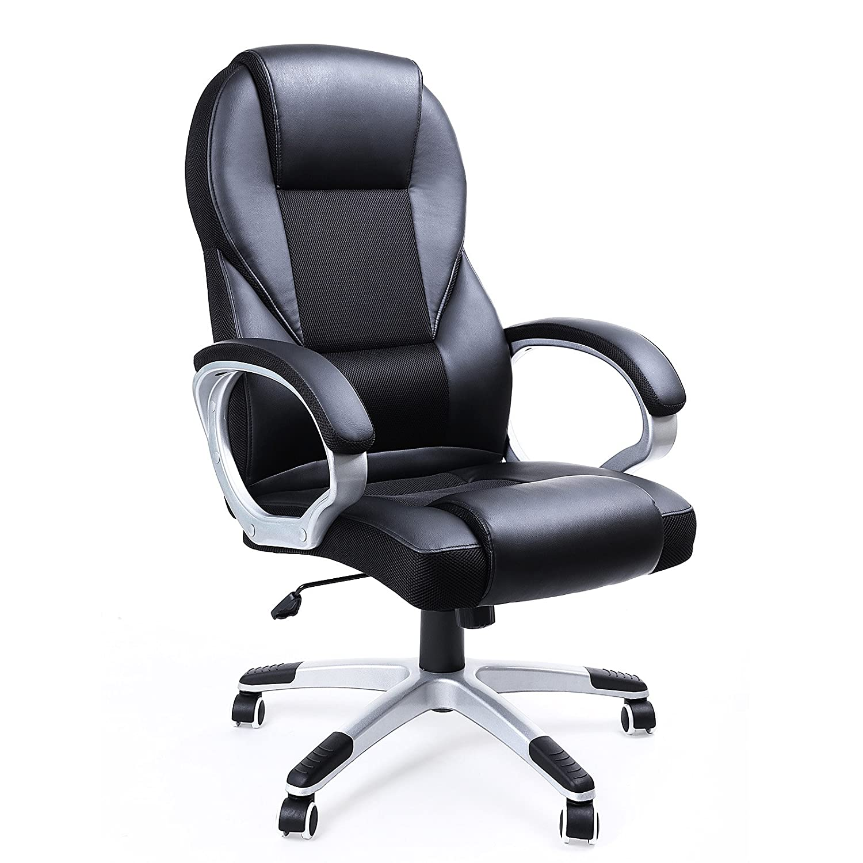 songmics chaise de bureau fauteuil de bureau chaise pour ordinateur hauteur r glable pu obg22b. Black Bedroom Furniture Sets. Home Design Ideas
