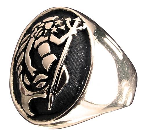Bronce Poseidon anillo del signo del zodiaco acuario (tamaño ...