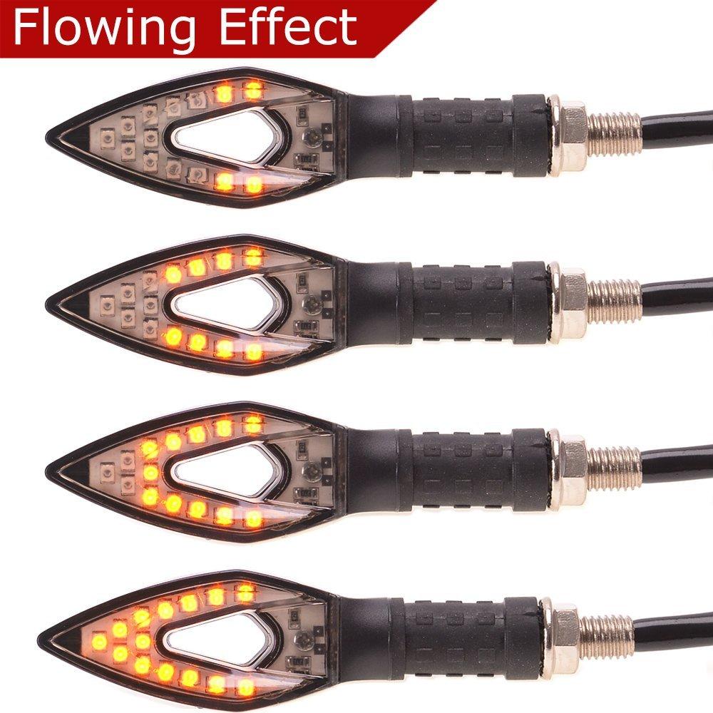 4 Pcs Sequential Effect Effect Blinker Evermotor Indicatori di direzione a LED per indicatori di direzione a LED a scorrimento universale per motocicli