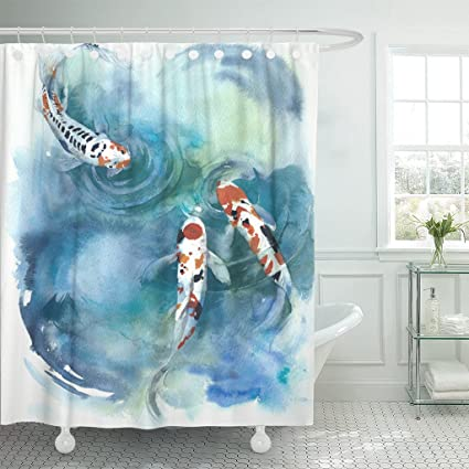 Emvency Shower Curtain Colorful Koi Fish Japanese Symbol In The Pond Watercolor Painting Orange Water Animal