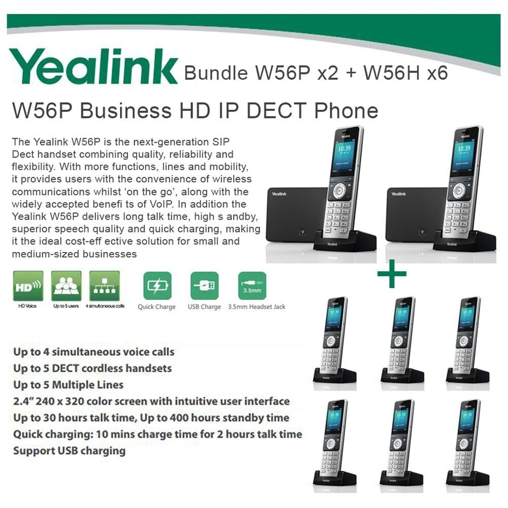 Yealink W56P x2 + W56H X6 Cordless VoIP Phone PoE HD Voice and Base Unit