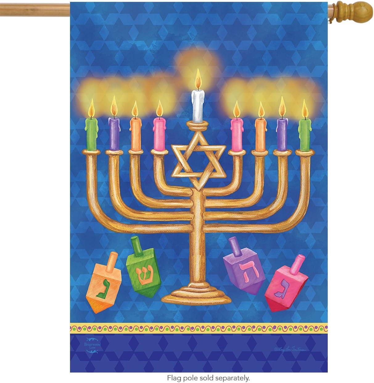 """Briarwood Lane Happy Hanukkah House Flag Holiday Menorah 28"""" x 40"""""""