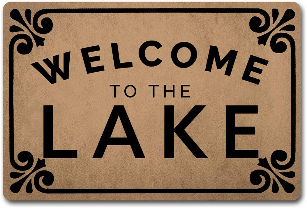 Welcome Door Mats for Home Decor (23.6 x 15.7 inch) Funny Mats with Anti-Slip Rubber Back Kitchen Rugs Personalized Doormat for Entrance Way (Welcome to The Lake)