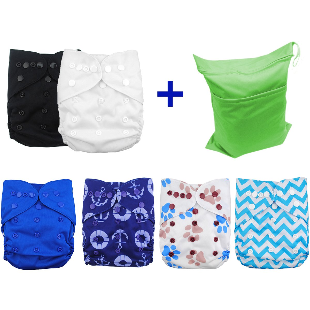 Babygoal 6pcs Baby Cloth Diaper Covers--Adjustable Reusable Washable Cloth Diaper Covers for Fitted Diapers and Prefolds Baby Gift Sets for Boy 6DCF02