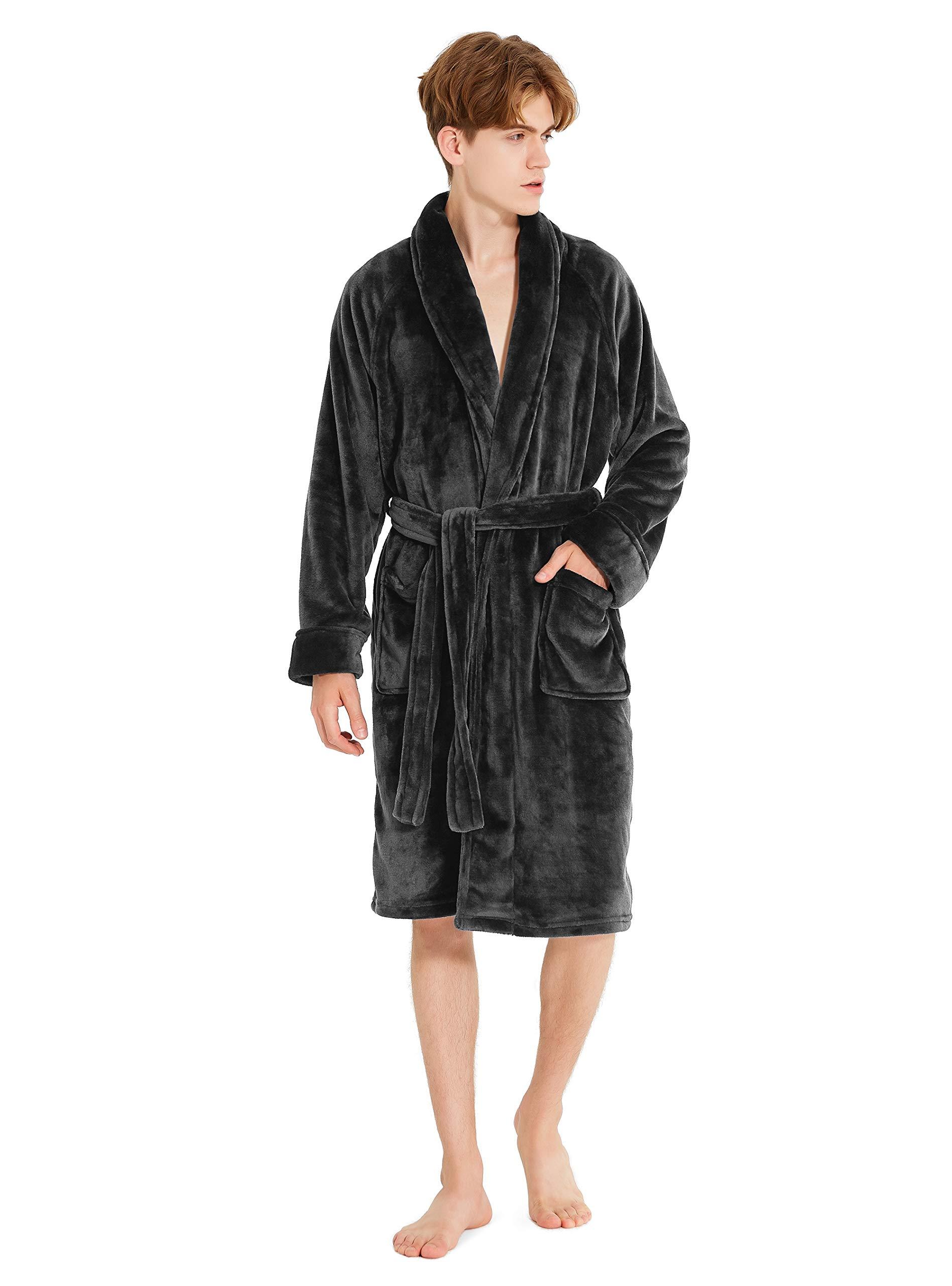 David Archy Mens Hooded Fleece Plush Soft Shu Velveteen Robe Full Length Long Bathrobe CN-Smashing