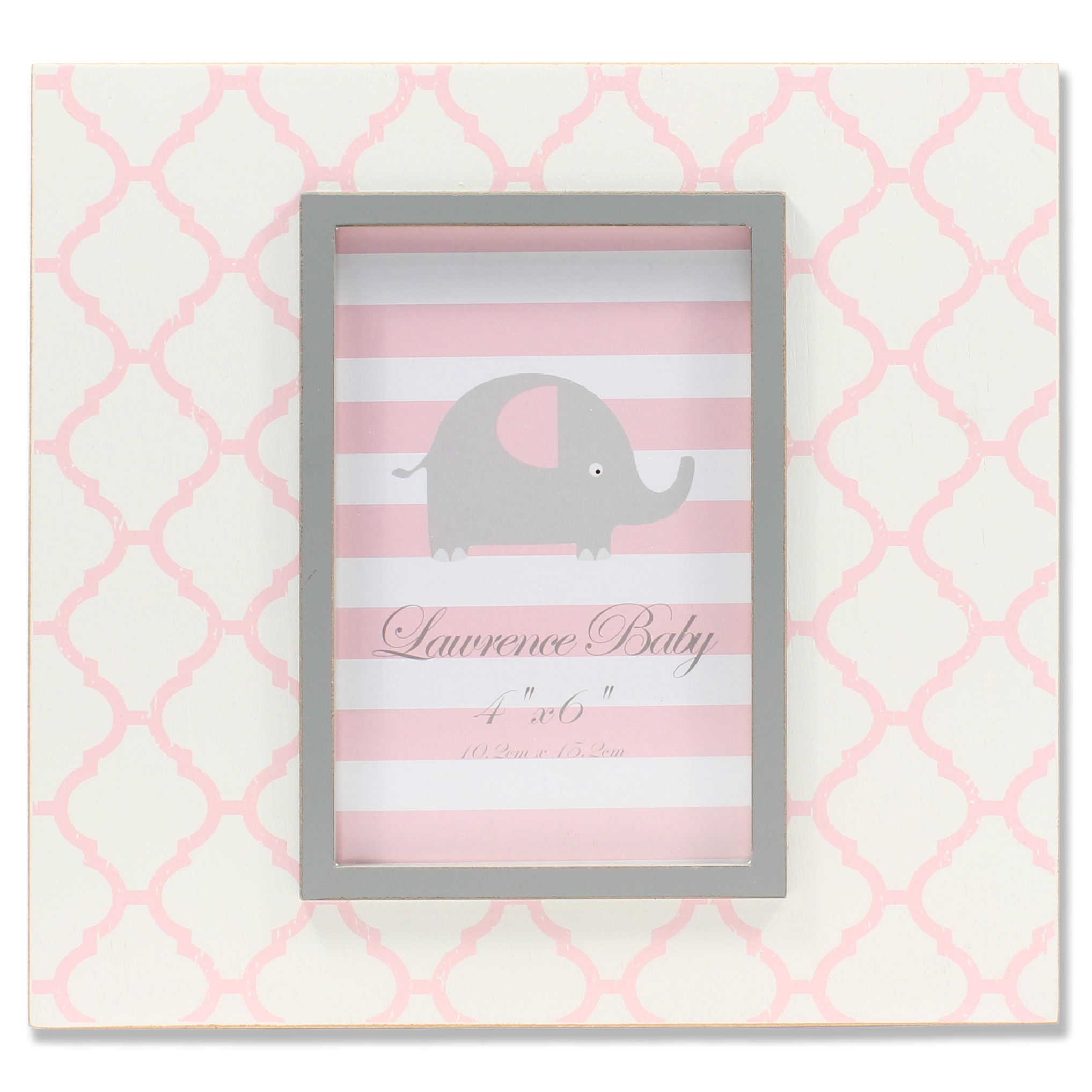 Lawrence Frames 4'' x 6'' Distressed White Wood Pink Moroccan Pattern