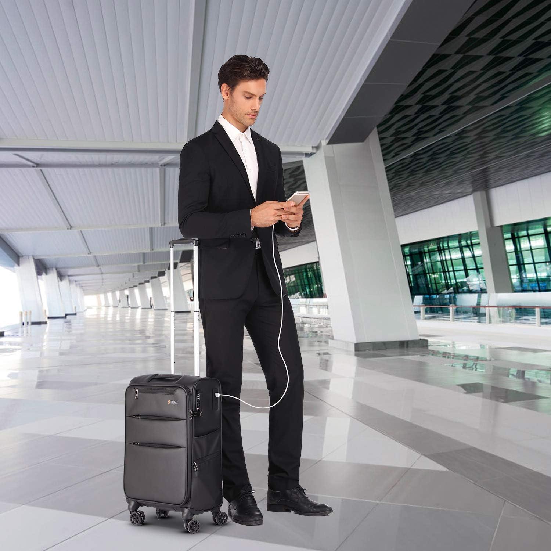REYLEO Softside Spinner Luggage 20 Inch Carry On Luggage 8-Wheel Travel Suitcase with USB Charging Port Built-in YiF TSA Lock