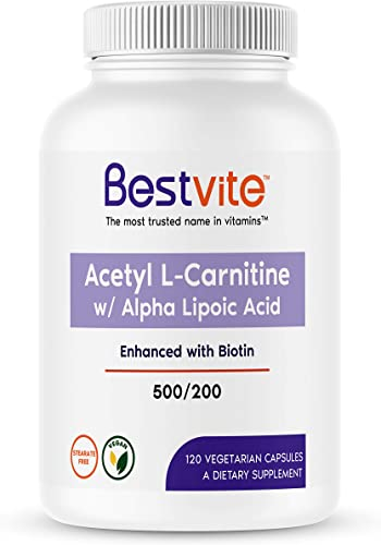Acetyl L-Carnitine 500mg Alpha Lipoic Acid 200mg per Capsule with Biotin 120 Vegetarian Capsules – No Stearates – Vegan – Non GMO – Gluten Free