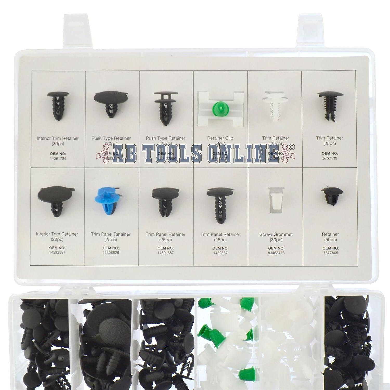 AB Tools-Neilsen Fiat la Garniture de Fixation oeillet de Fixation Set Assortiment Fixations Clips 308pc