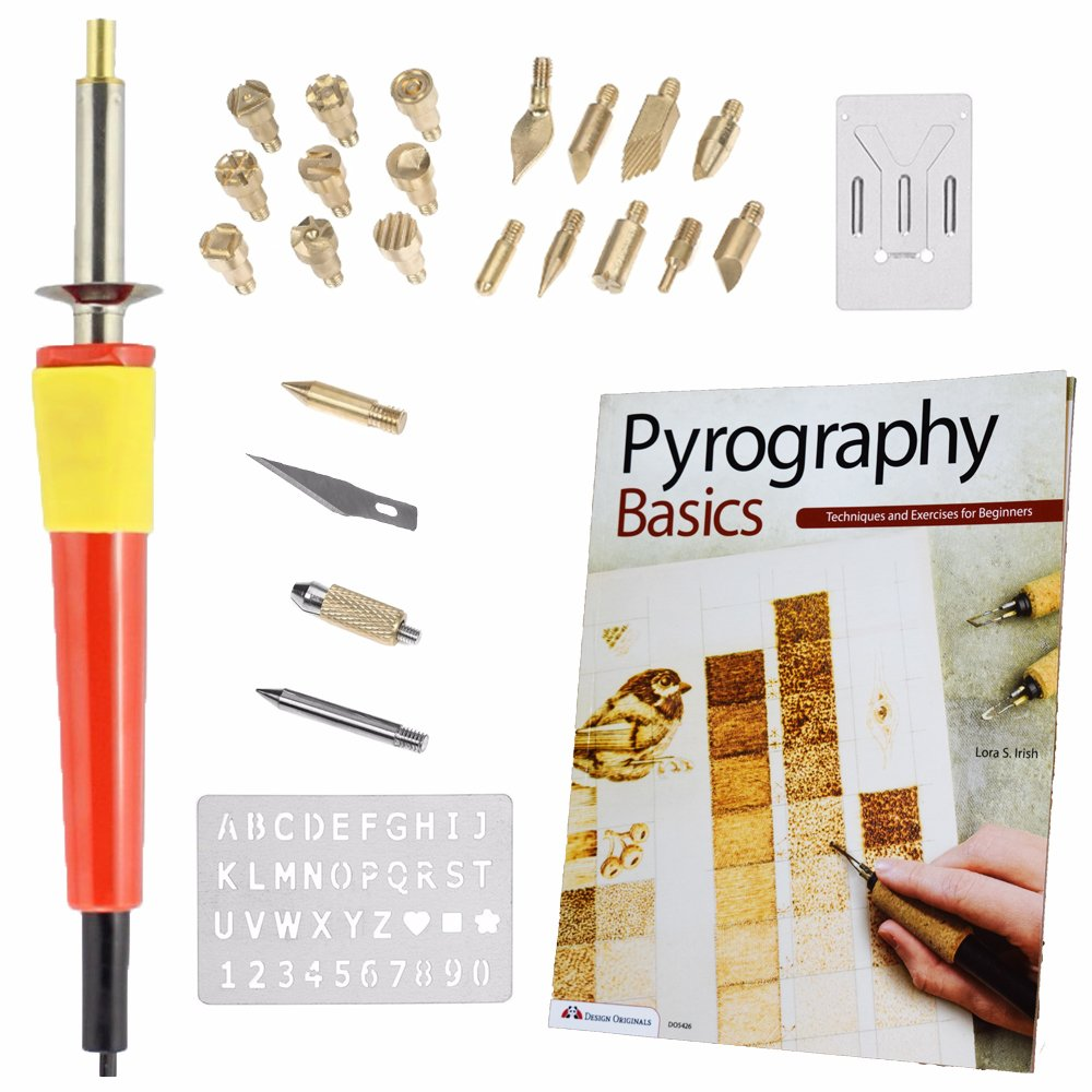 Go Plum Crazy Wood Burning Tool Kit Set with Best Selling Book Pyrography Basics Techniques and Exercises for Beginners FK-060A-2
