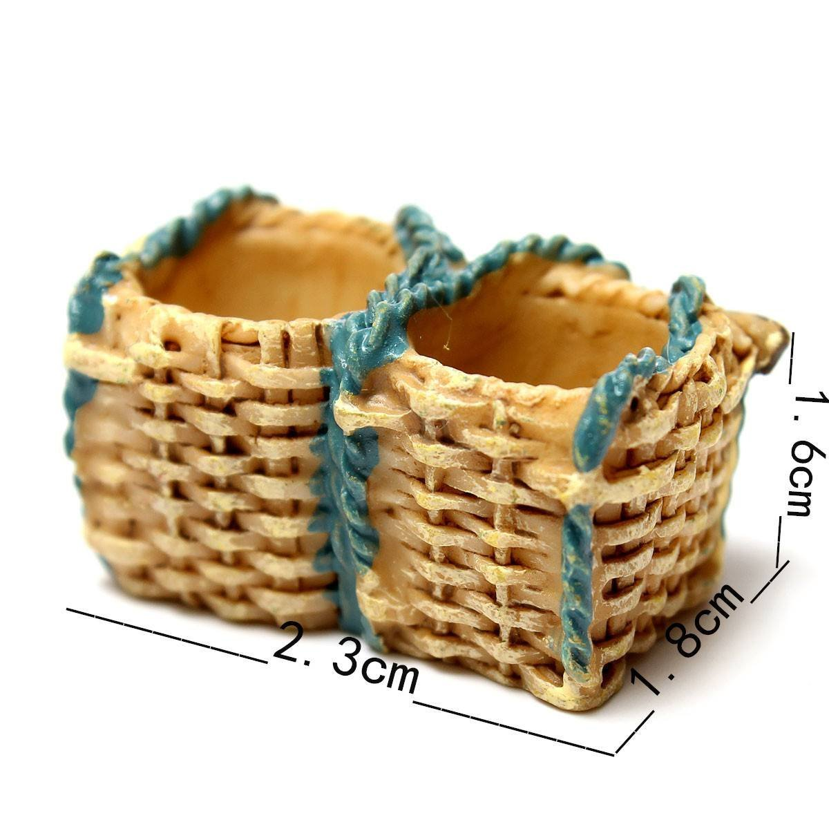 FunnyToday365 Miniature Dollhouse Garden Ornament Pot Plant Craft Home Decor Wicker Gift Baskets