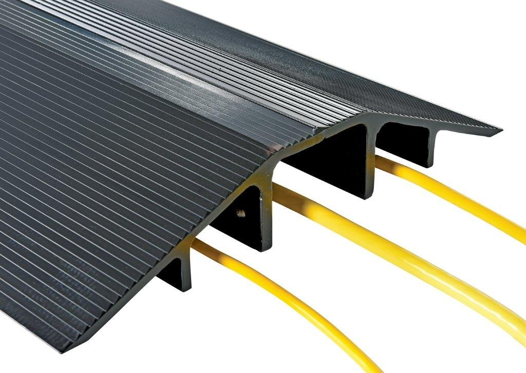 Cable Ramp - BWR Series; Overall (W x H): 21-1/6'' x 3-1/2''; Length: 60''; Usable Span (W x H): 4-1/2'' x 3''; Single Wheel Capacity (LBS): 10,000; Finish: Aluminum