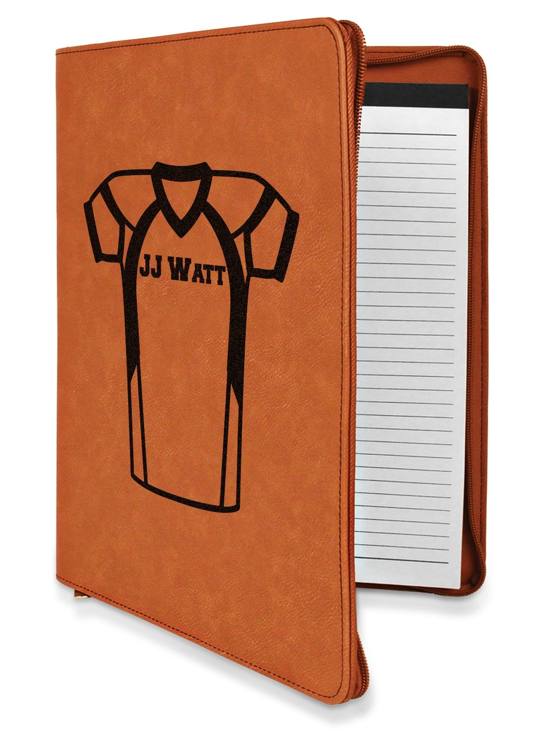 Football Jersey Leatherette Zipper Portfolio with Notepad - Double Sided (Personalized)