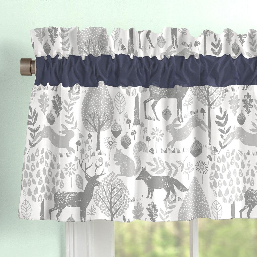 Carousel Designs Navy and Gray Woodland Window Valance Rod Pocket by Carousel Designs