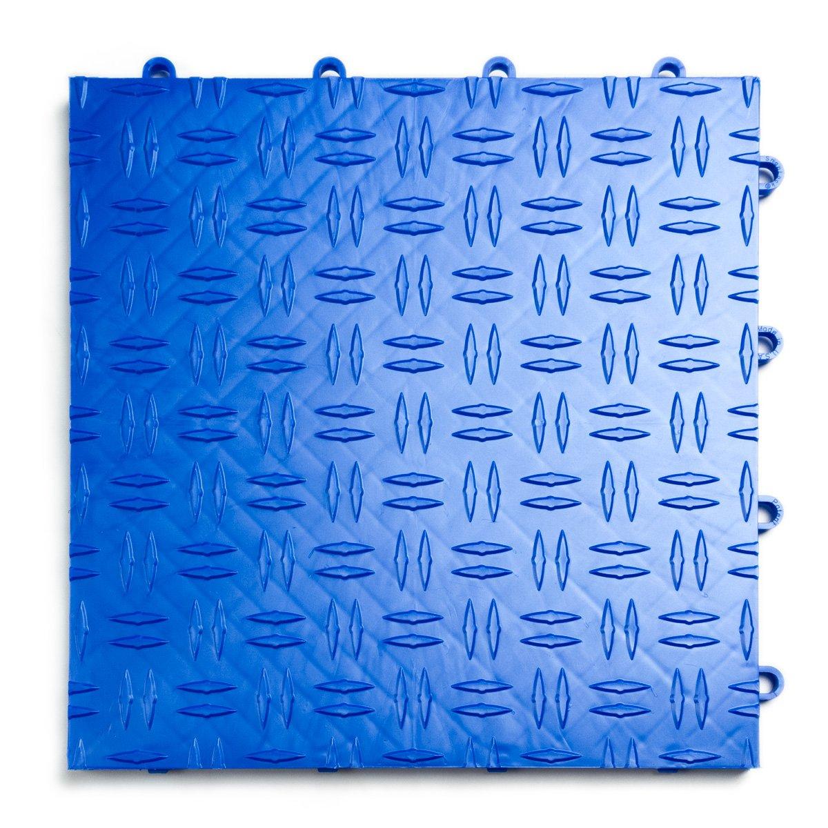 GarageTrac Diamond Durable Interlocking Modular Garage Flooring Tile Royal Blue 48 Pack Rubber ...