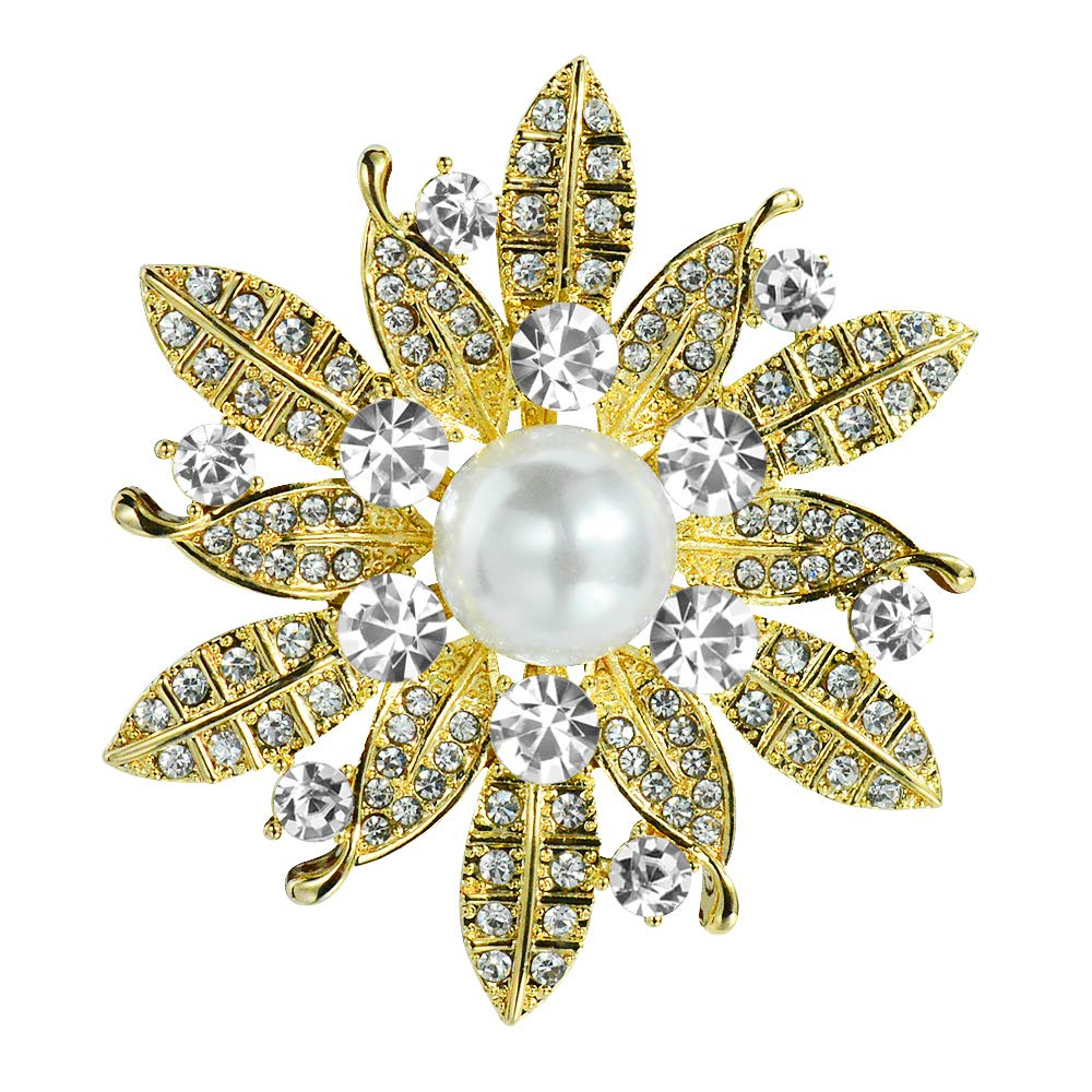 bd23812d6fc Amazon.com: Mamfous Simulated Pearl Gold Plated Flower Brooch with  Rhinestone Wedding Bouquet Jewelry Pins: Jewelry
