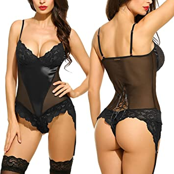 Amazon.com: Lingerie,KpopBaby Women Sexy Lingerie Lace of Chemises Sexy Nighty Clothing Bodysuit Underwear Embroidery Bras Set: Arts, Crafts & Sewing