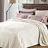 PrimePros Ultra Velvet Plush Super Soft Fleece Weighted Blanket Adult Queen Size - 228cm by 228cm, 330gsm, Ivory