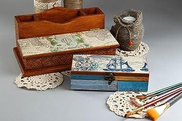 Handmade Schreibtisch Accessoires Holz Dekoration Wohnzimmer Schatulle Aus  Holz