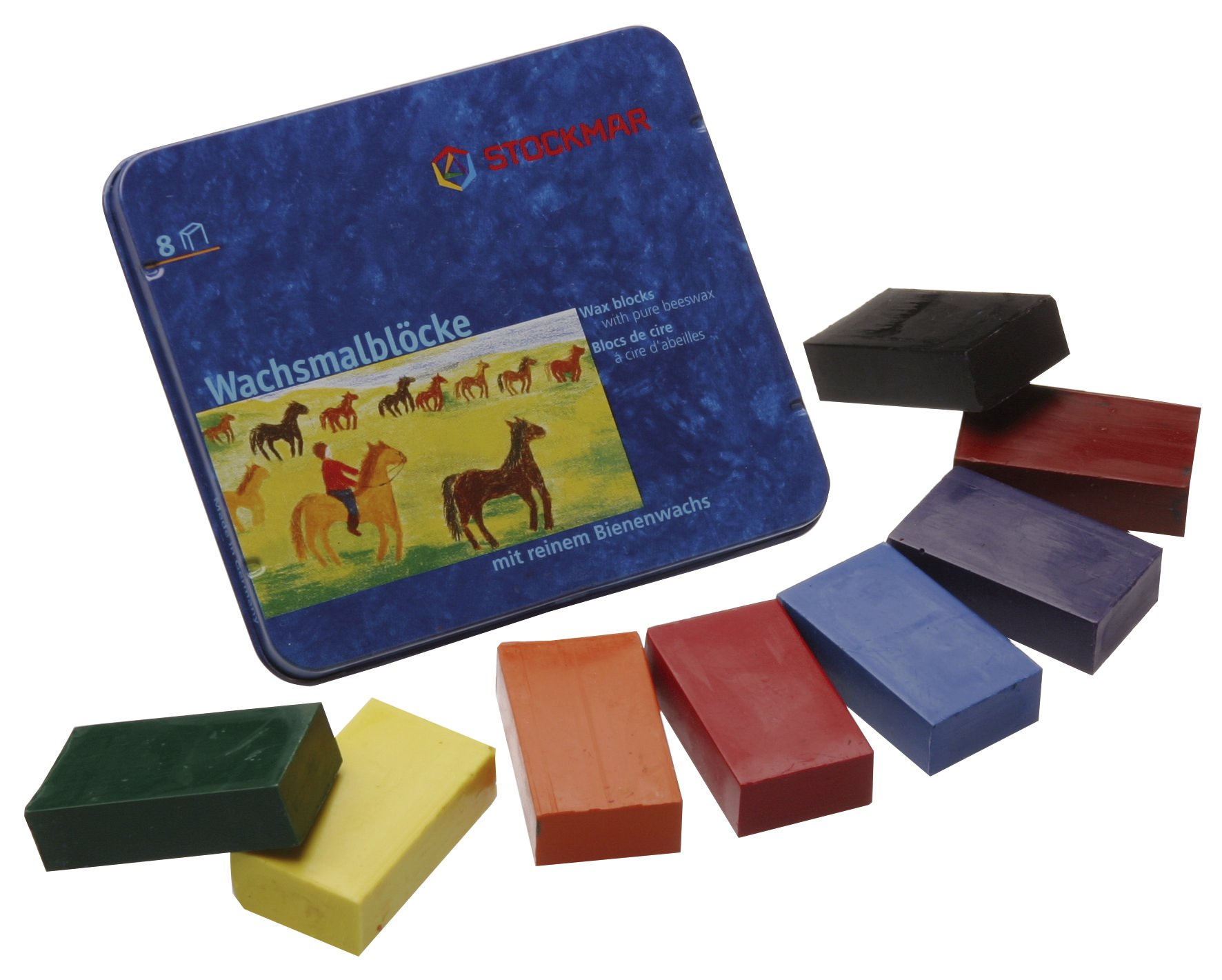 Stockmar Beeswax Block Crayons - 8 Standard Colours in a Tin by Stockmar (Image #1)