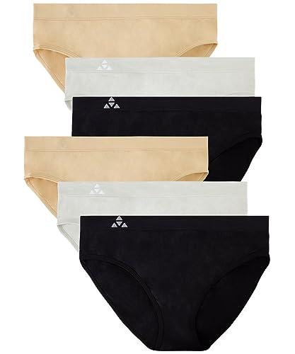 Balanced Tech Women's Seamless Bikini Panties 6-Pack - Black/Nude/Gray - Medium