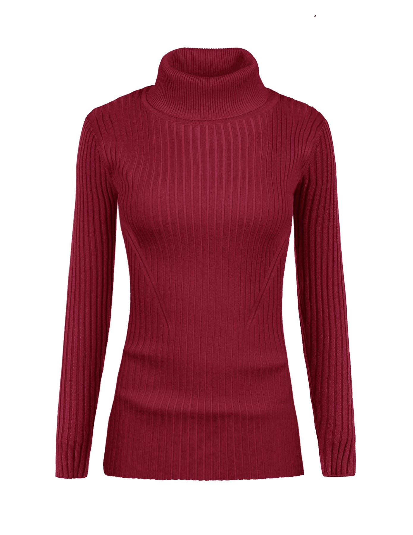 v28 Women Stretchable Turtleneck Knit Long Sleeve Slim Fit Bodycon Sweater (M,Turtburgundy)