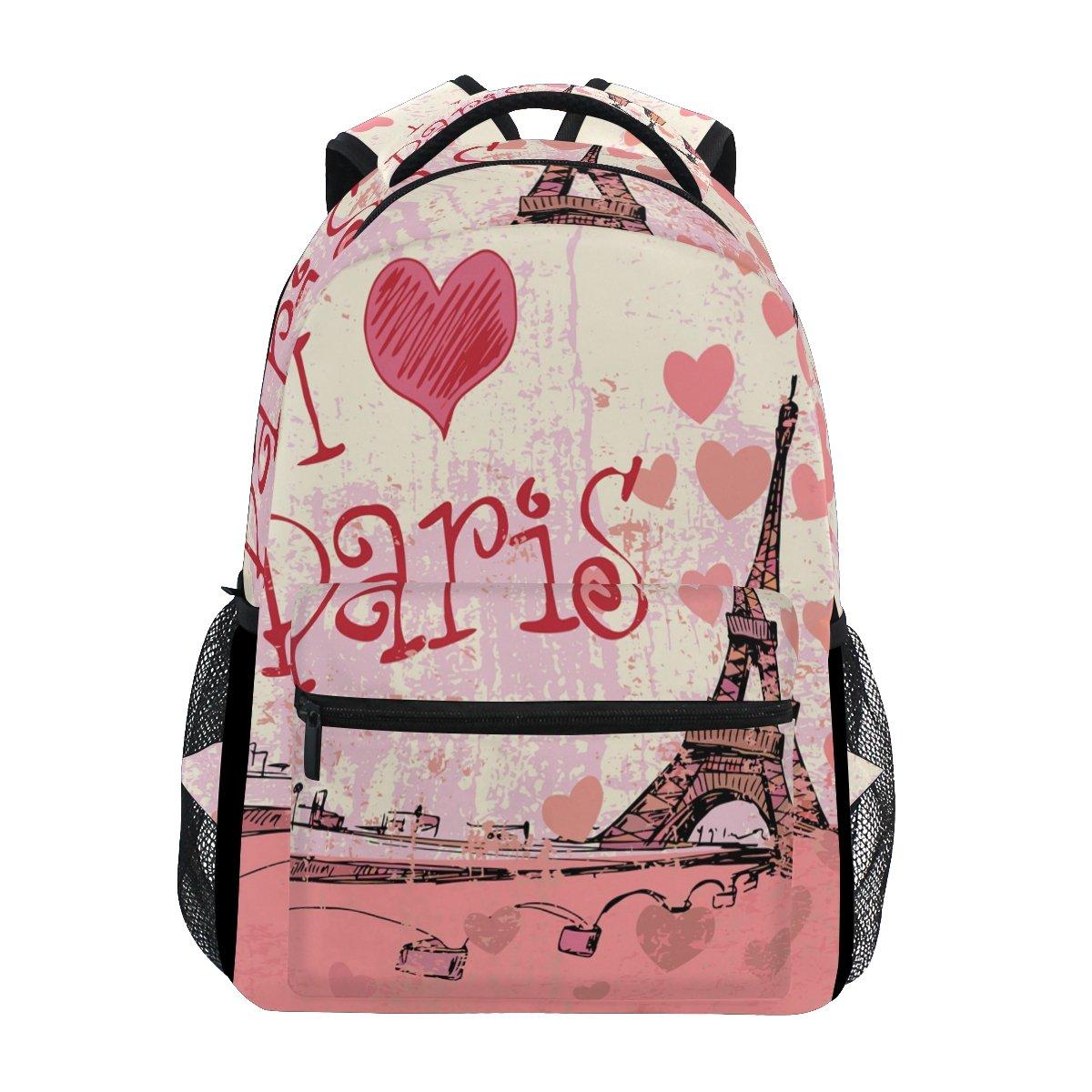 TropicalLife Eiffel Tower I Love Paris Backpacks School Bookbag Shoulder Backpack Hiking Travel Daypack Casual Bags