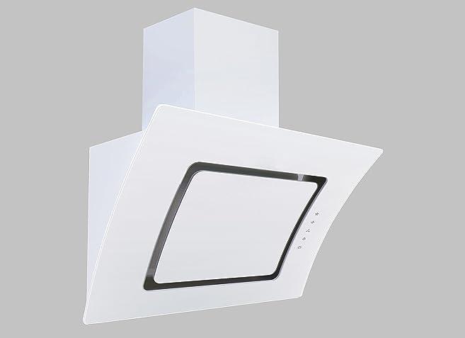 Respekta Kopffreie Schräghaube Dunstabzugshaube Abzugshaube Wandhaube Glas 90  Cm Weiß EEKL A / Touch Control /