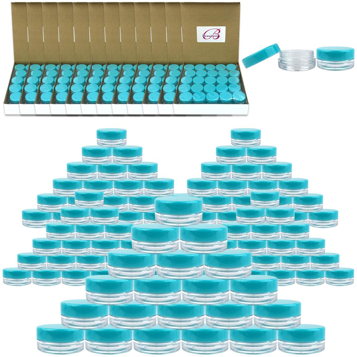 (Quantity: 2000 Pieces) Beauticom 3G/3ML Round Clear Jars with TEAL Sky Blue Lids for Scrubs, Oils, Toner, Salves, Creams, Lotions, Makeup Samples, Lip Balms - BPA Free by Beauticom