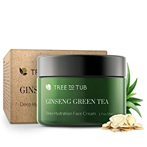 Face Cream for Women by Tree To Tub - Anti Aging Face Cream for Dry and Acne Prone Skin - Best Moisturizer for Face with Vitamin B3, B5, E, Aloe Vera, Ginseng and Green Tea 2 oz
