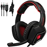 Sades SPIRITWOLF 3.5mm Version PC Over-Ear Stereo Gaming Headset Headband Headphones with Mic, Noise Reduction, Volume Control, LED Light for Computer Gamers(Black Red)