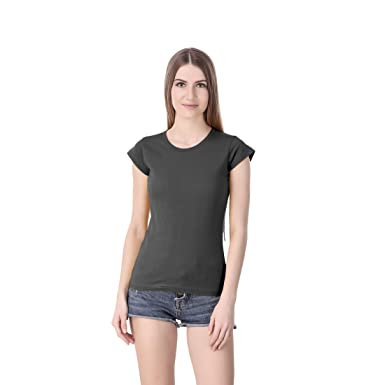 87832894 Online Shopping Mall Stylish Cotton Plain Round Neck Black Tshirt for Women  & Girls |Extra