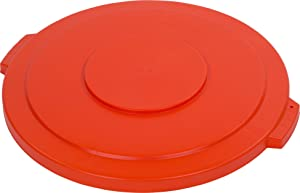 "Carlisle 34104524 Bronco Polyethylene Round Lid, 26.88"" Diameter x 2-1/4"" Height, Orange, for 44 Gallon Trash Containers"