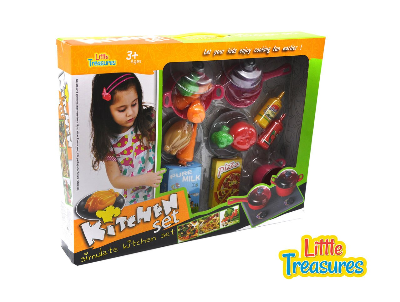 Kitchen toy Set for kids of ages 3+ made up of 34pcs includes a stove with two burners, two cooking pots, spoons, plates, vegetable and fruit models, milk, pizza cheese and ketchup & salad dressing.