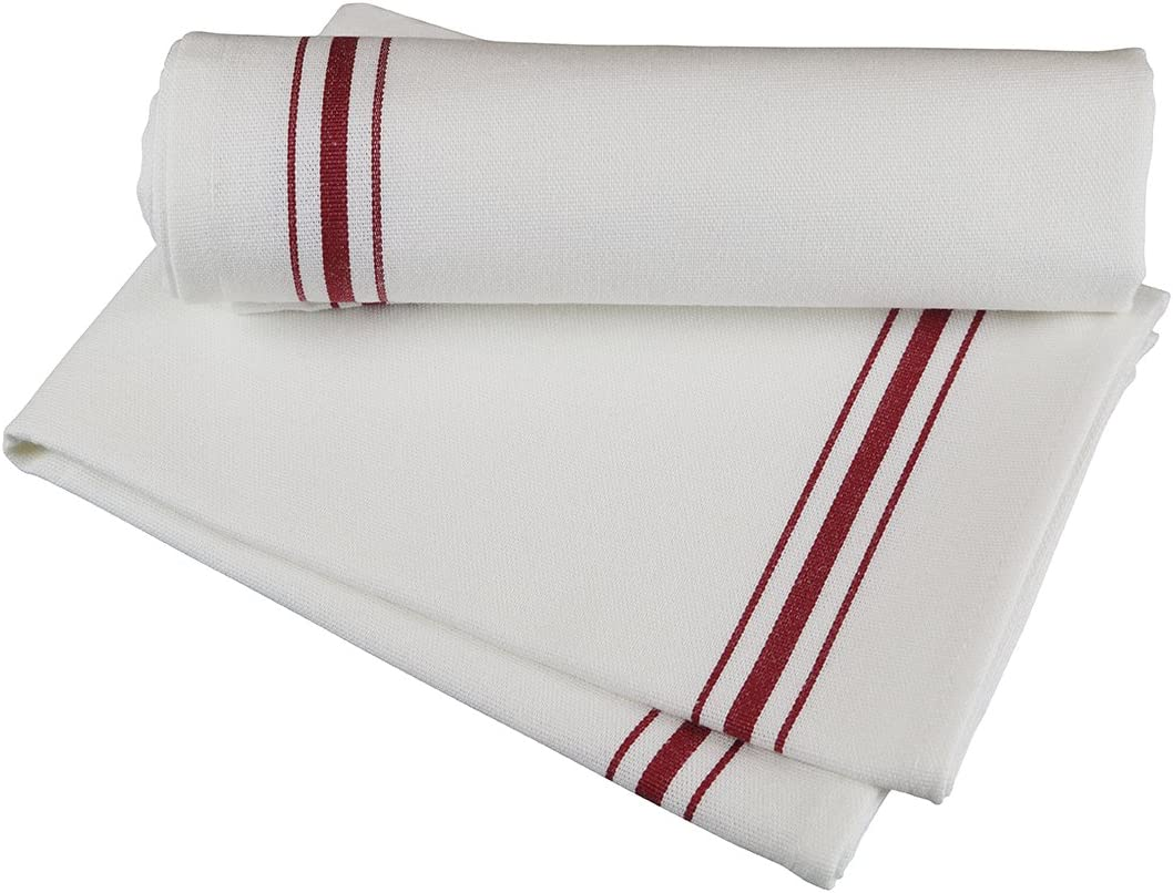 "RC ROYAL CREST by Sigmatex - Lanier Textiles NK182632BRD Bistro 100% Cotton Stripe Cloth Napkins, Restaurant Quality, Large Size 18"" x 26"", 12 Pack (Red Stripes): Home & Kitchen"