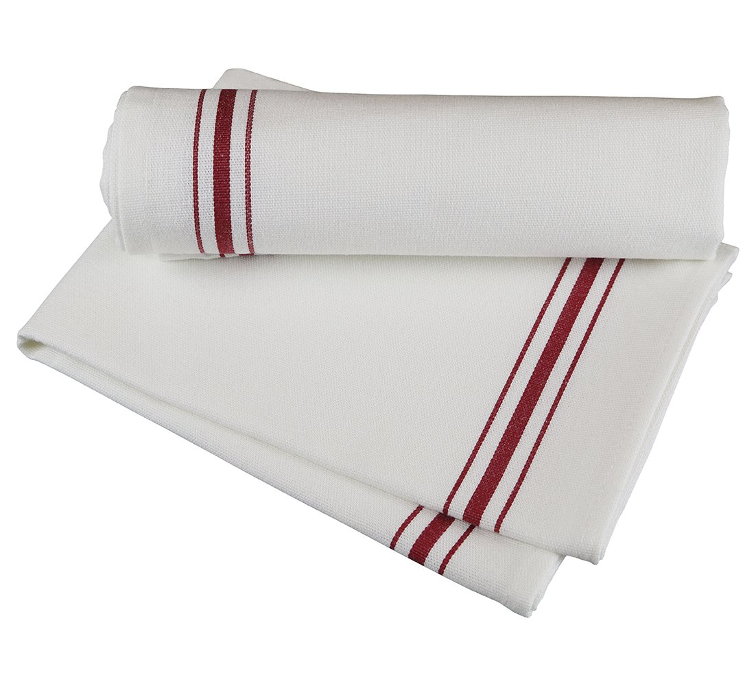 RC ROYAL CREST by Sigmatex - Lanier Textiles NK182632BRD Bistro 100% Cotton Stripe Cloth Napkins, Restaurant Quality, Large Size 18'' x 26'', 12 Pack (Red Stripes)