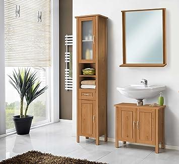 Galdem Badmöbel Set Mit Spiegel Waschbeckenunterschrank Hochschrank  Hängeschrank Seitenschrank Badezimmer Weiß (MDF Mit Spiegel
