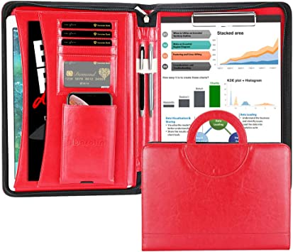 Tablets Notebooks and Documents iPad Professional Business Portfolio Organizer with 11 Inch Tablet Sleeve for iPhone MoKo Leather Padfolio Portfolio Folder with Handle Wine Red