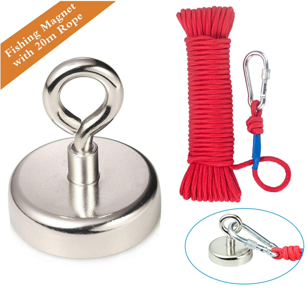 Neodymium Eyebolt Magnet,Diameter x 60mm Thick x 15mm, Wukong N52 Holding pull force 330LBS(150KG) Fishing clamping magnet and 6mm Braided Rope x 66ft