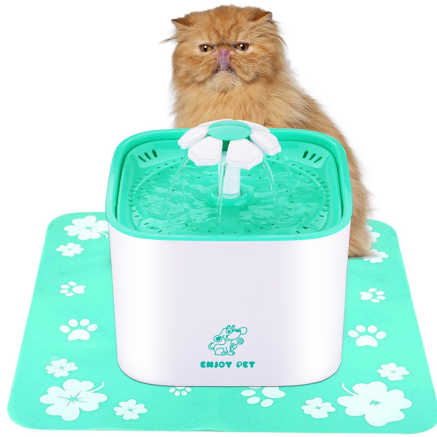 ENJOY PET Water Fountain for Cat and Dog 2L Automatic Cat Water Dispenser with Filter and Silicone Anti-skid Mat, Dog and Cat Fountain with Quiet Water Pump