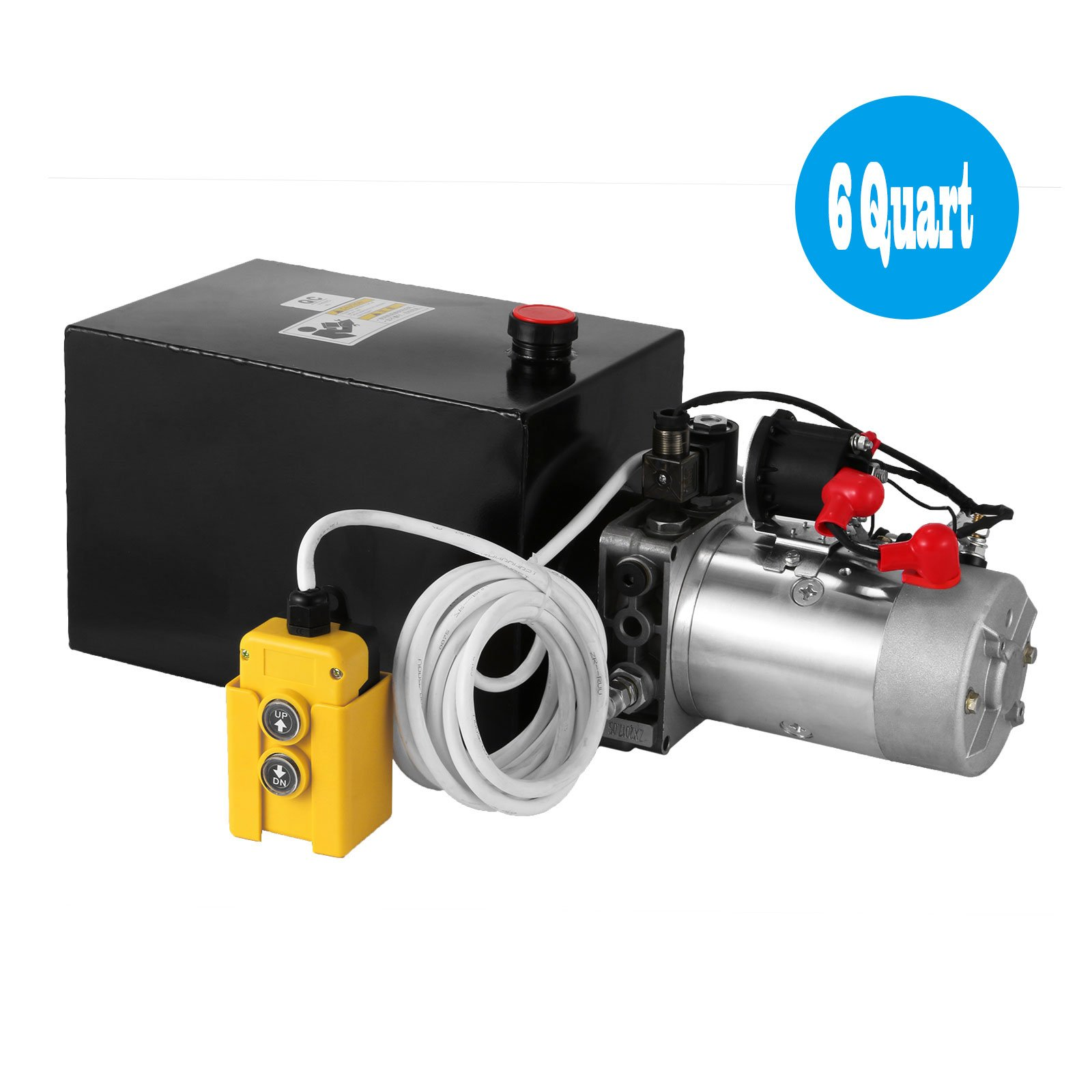 Happybuy 12V/DC Hydraulic Pump Double Acting Solenoid Operation Supply Unit W/ Remote Controller Hydraulic Power Unit For Dump Dump Truck Unloading Crane Lifting (6 Quart Double Acting Steel)