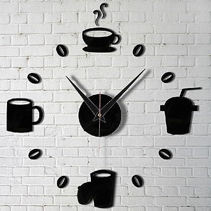 DIY moderno decoración del hogar taza de café Cocina Pared Relojes reloj Silent adhesivos negro