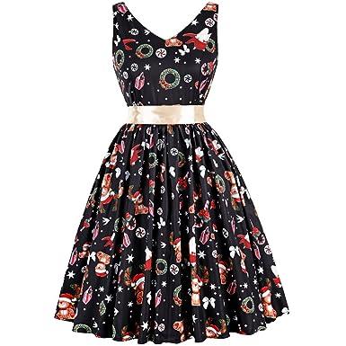 27d385474588ea [Weihnachtskleid Damen] V-Ausschnitt Ärmellos Rockabilly Kleid mit  Weihnachtsmann Rentier Kleid für Damen